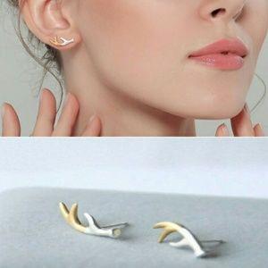 Dainty Two Tone Deer Antler Stud Earrings